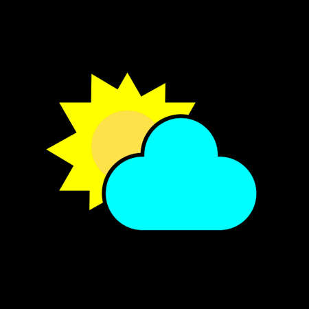 Sun with clouds on black background, flat design