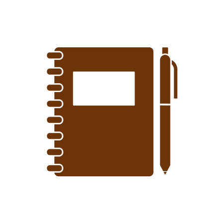 Notebook With Pen, Brown Icon, Concept Illustration, Vector Flat Symbol Illustration