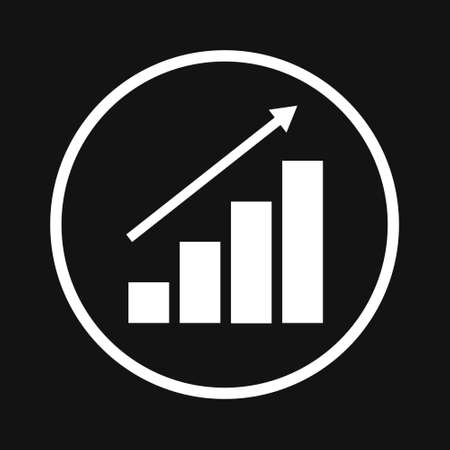 Growing bar graph icon. Vector illustration on black background 向量圖像