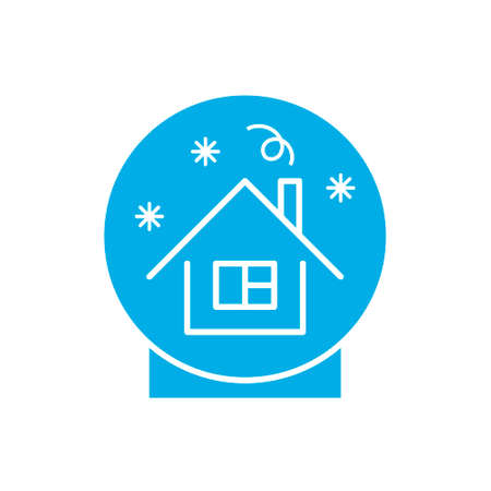 Blue Christmas snow globe with small house. Isolated vector illusrtation