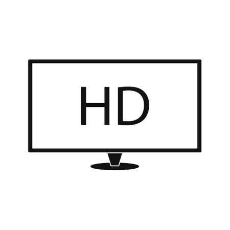 HD tv icon on white background. Simple element illustration from cinema concept.