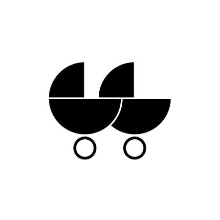 Black baby double stroller. flat icon isolated on white background