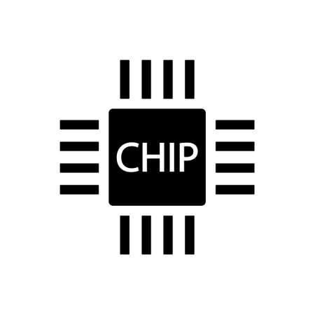 Processing unit symbol - Computer chip or microchip icon isolated on white background.
