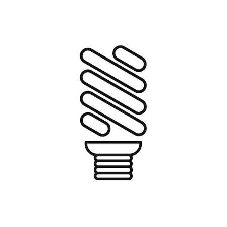 Economical LED illuminated lightbulb icon isolated. Save energy lamp. Flat design. Illustration
