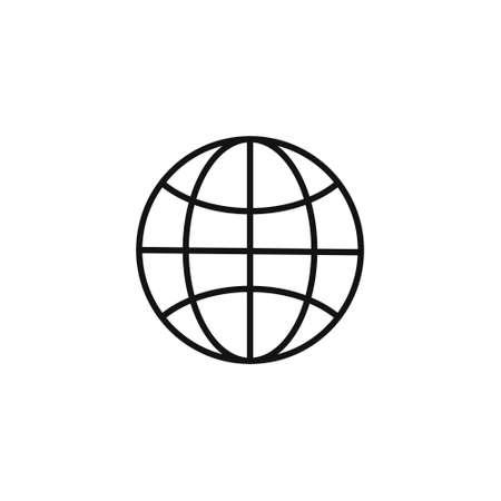 Globe symbol. Planet Earth or internet browser sign. Outline modern design element. Simple black flat vector icon. Vector Illustration Ilustração
