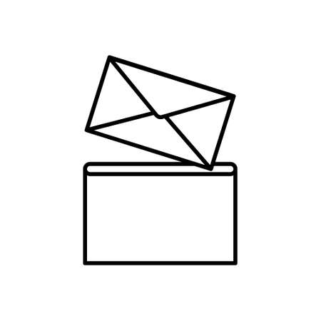 Envelope in post box icon, flat style. Vettoriali
