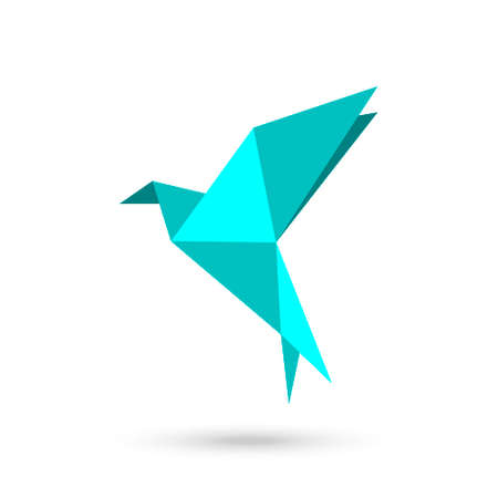 Blue Origami bird vector icon. filled flat sign for mobile concept and web design. Bird paper simple solid icon.
