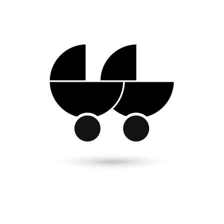 Black baby double stroller. flat icon isolated on white