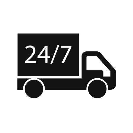 Delivery truck Icon. Vector flat style illustration isolated on white background. Vector Illustration. Illusztráció