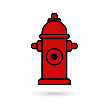 Red Fire hydrant icon. Fire hydrant simple silhouette. Web site page and mobile app design vector element.