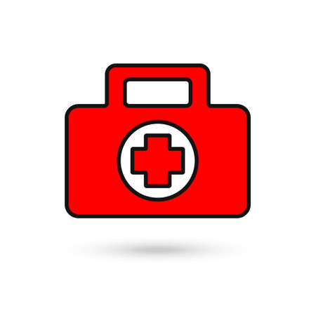 First aid kit red icon in flat style. Health, help and medical diagnostics vector illustration on white isolated background. Red Doctor bag concept. 向量圖像