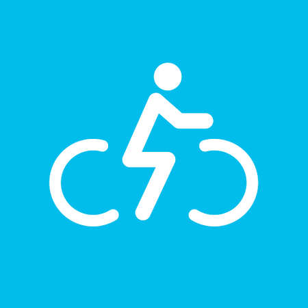 Bicycle rider icon. Cyclist icon. Vector. Isolated on blue background.