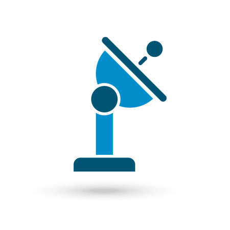 Blue Radar satellite dish icon thin line for web and mobile, modern minimalistic flat design.