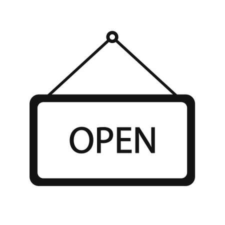 Open door black sign flat style. Graphic welcome icon hanging on shop door. Signboard for office, cafe, retail market.