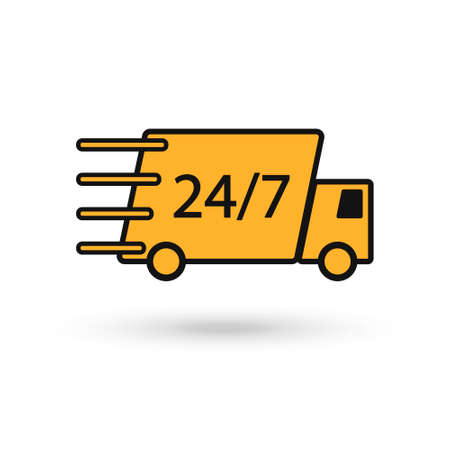 Delivery truck, yellow icon vector symbol, fast shipping cargo van, flat style quick courier transportation