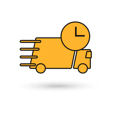 Shipping fast delivery yellow truck with clock icon symbol, Pictogram flat design for apps and websites, Isolated on white background