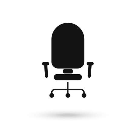 Black Office chair icon on a white background. Vector illustration