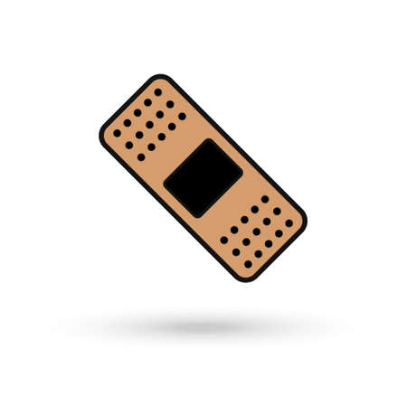 Medical adhesive brown plaster, flat design icon 向量圖像