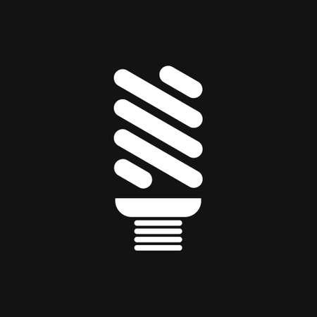 Economical LED illuminated lightbulb icon isolated on black background. Save energy lamp. Flat design.