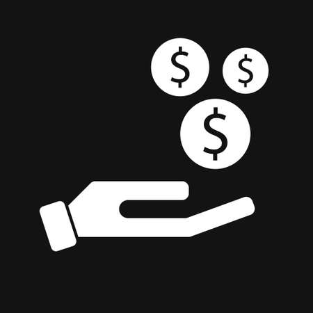 Save money icon, salary money, invest finance, hand holding dollar. Isolated on black background