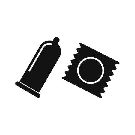 Set of Condoms, flat design vector icons