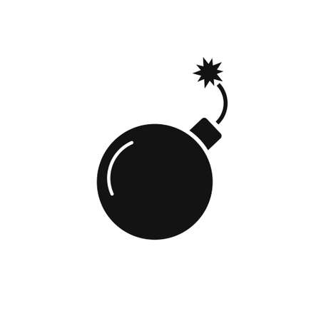 Black bomb icon with burning wick in flat style. Illusztráció