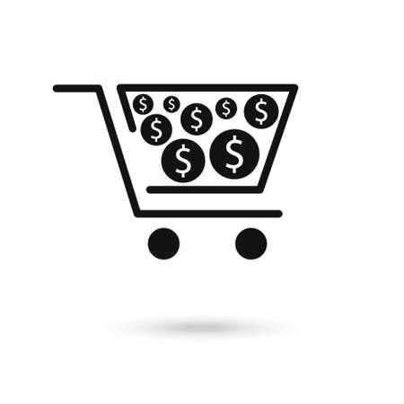 Vector icon concept of dollar money coin in shopping cart.