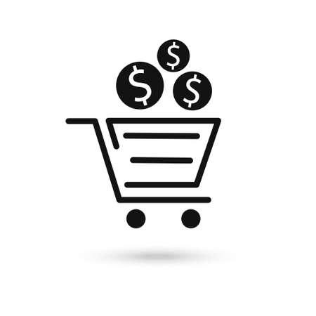 Vector icon concept of dollar money coin over shopping cart.