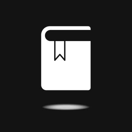 White icon of book with bookmark. Flat design. Isolated on black