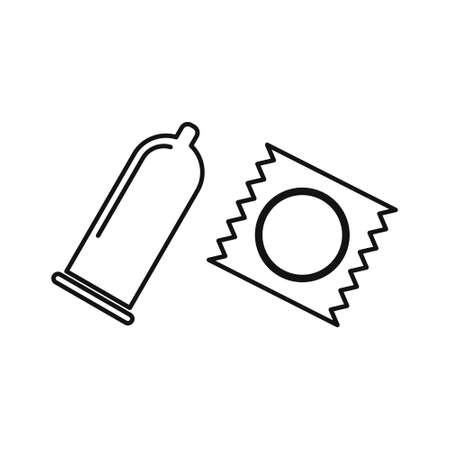 Set of Condoms, flat line design vector icons