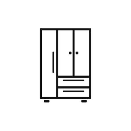 Cupboard, wardrobe, furniture flat design icon. Bedroom furniture single icon in flat style vector symbol stock illustration.