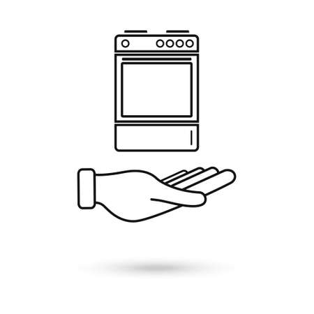 Hand holding Stove oven icon, vector gas stove. Line icon. Kitchen cooking appliance. Vector Illustration 向量圖像