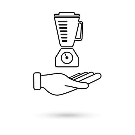 Hand holding blender outline single isolated vector icon. Kitchen appliances and electronics illustration on white background. Vector Illustration Vetores