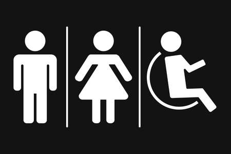 WC, toilet flat vector icon. Men and women sign for restroom. Isolated on black background