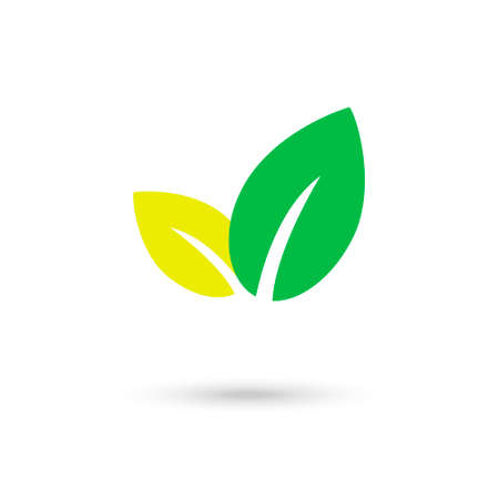Green and yellow natural leafs vector  illustration Ilustração