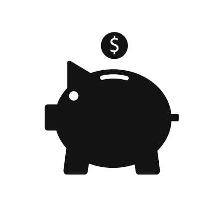 Piggy bank, black icon, vector sign.