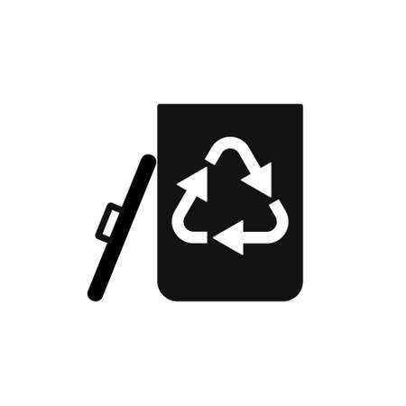 Black Garbage Trash Icon. Eco Bio concept, recycling. Flat design illustration