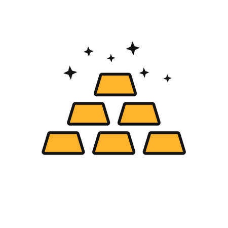 Gold ingots outline vector icon. Thin line gold ingots icon