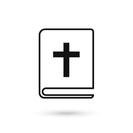 Bible book icon in flat style. Church faith vector flat design