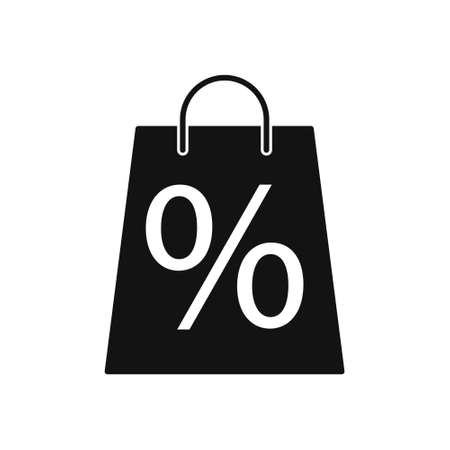 Black Shopping Bag with Percent Sign