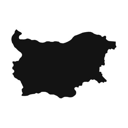Vector Illustration of the Black Map of Bulgaria on White Background