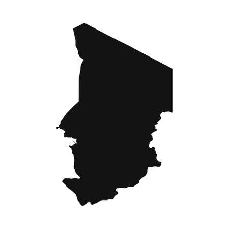 Vector Illustration of the Black Map of Chad on White Background
