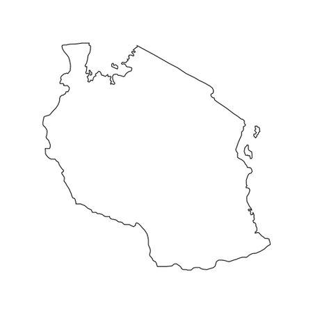 Vector Illustration of the Map of Tanzania on White Background Ilustração Vetorial