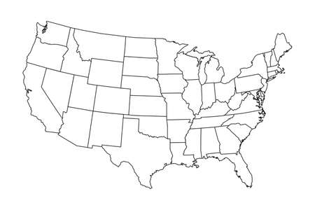 High detailed map of USA with states borders
