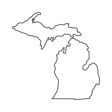 Michigan map on white background 向量圖像