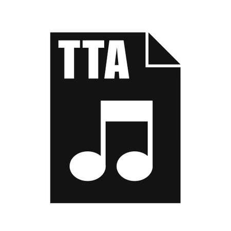 TTA Black File Icon, Flat Design Style