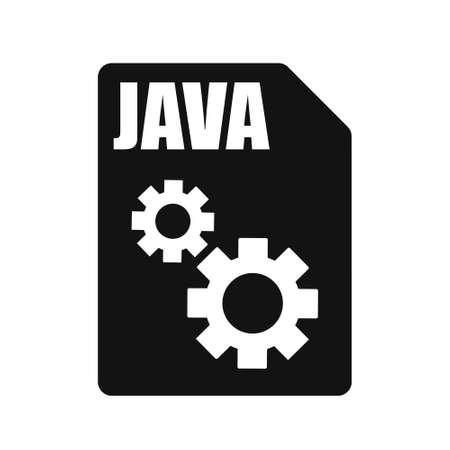 JAVA Black File Vector Icon, Flat Design Style