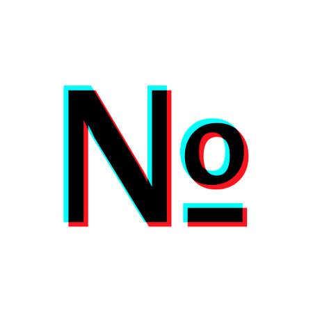 Numero symbol mark icon. Social media concept. Isolated on black background.