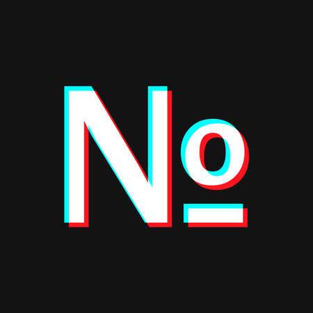 Numero symbol mark icon. Social media concept. Isolated on black Vettoriali