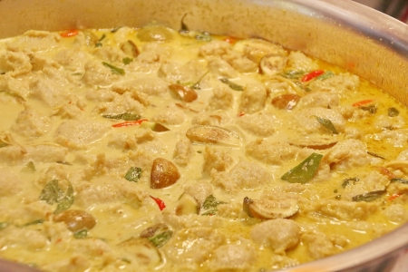 scraped: Thai Green Curry with Scraped Fish Meat Stock Photo
